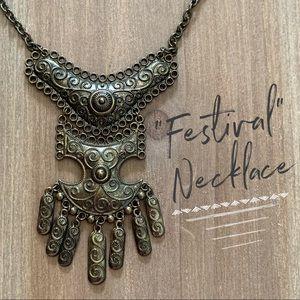 Bohemian boho festival tribal necklace statement